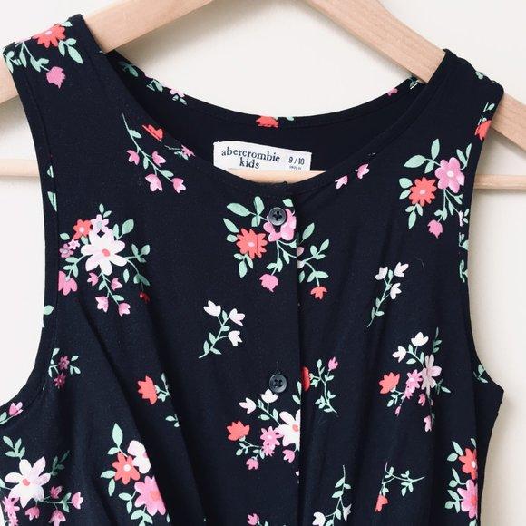 Abercrombie Kids Black Floral Jumpsuit